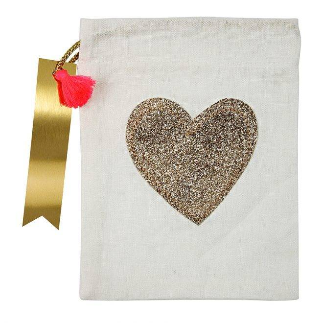 MERIMERI Glitter heart party bag