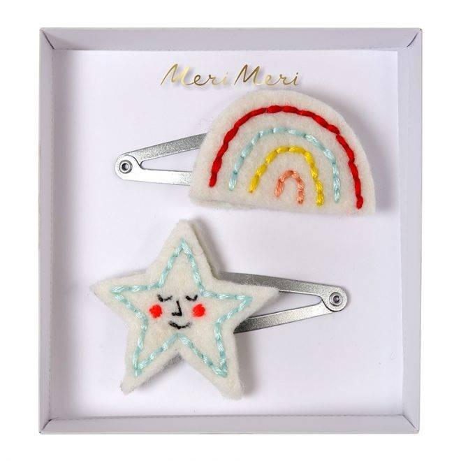 MERIMERI Embroidered rainbow & star hair clips