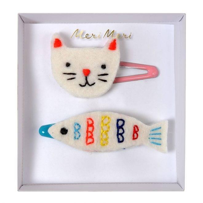 MERIMERI Embroidered cat & fish hair clips