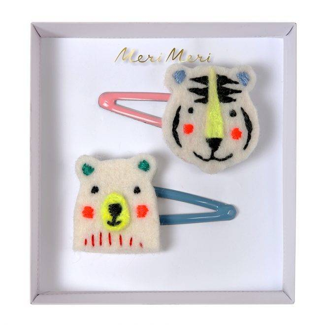 MERIMERI Embroidered bear & tiger hair clips