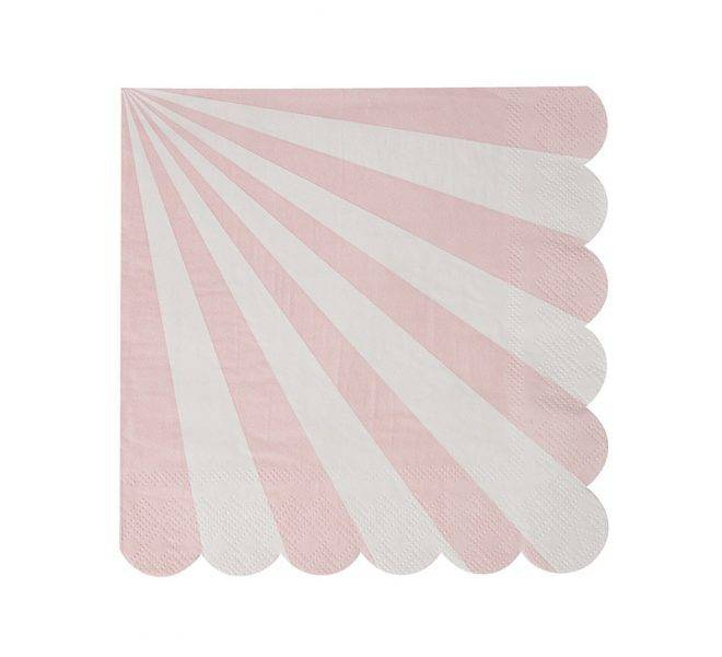 MERIMERI Dusty pink striped small napkins