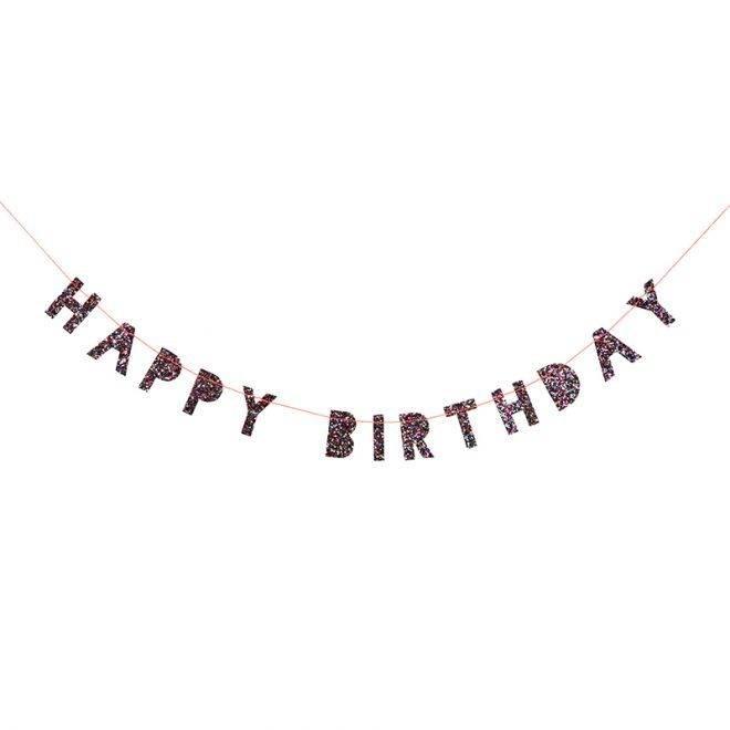 MERIMERI Coloured glitter happy birthday mini garland