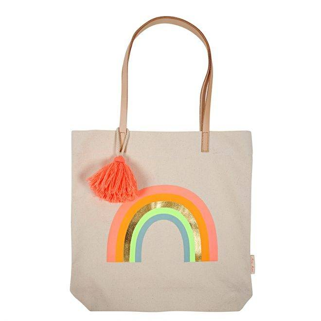 MERIMERI Canvas rainbow tote bag