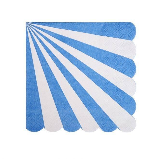 MERIMERI Blue striped small napkins