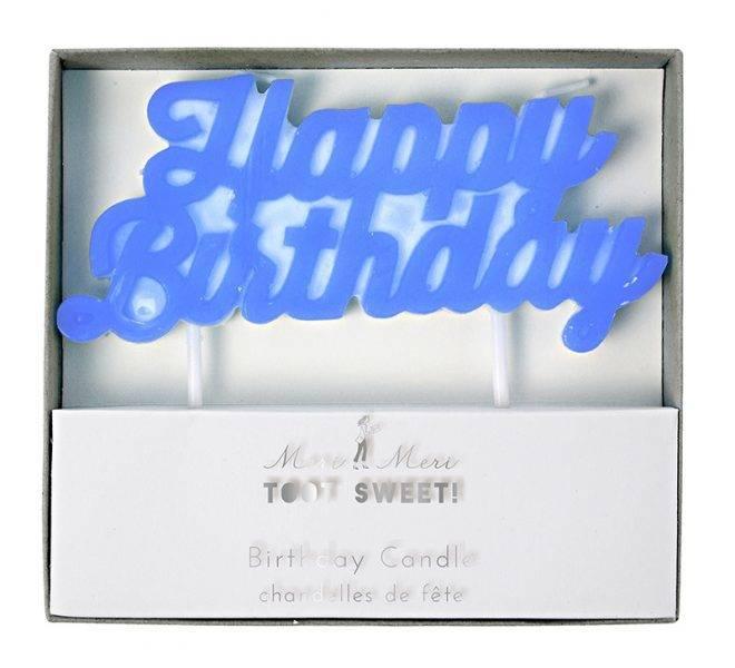 MERIMERI Blue happy birthday candle