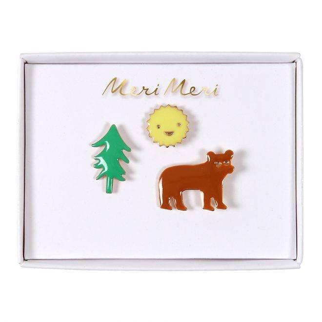 MERIMERI Bear, sun and tree enamel pins