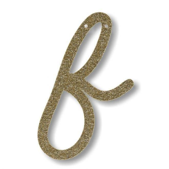 MERIMERI Gold glitter acrylic bunting F