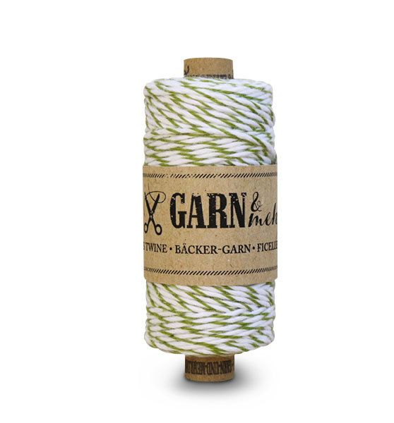 Garn & Mehr bakers twine moss green- white
