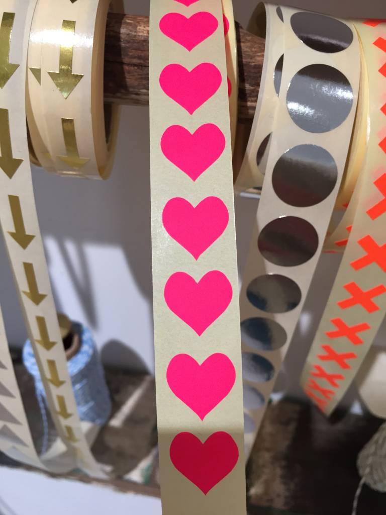 KD sticker mini heart neon pink 1,5 cm