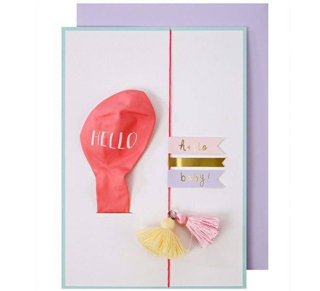 MERIMERI hello pink balloon baby card
