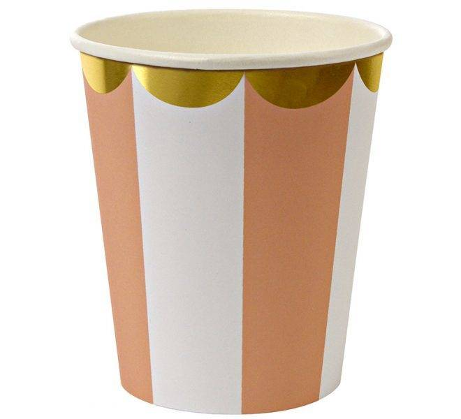 MERIMERI orange striped cups