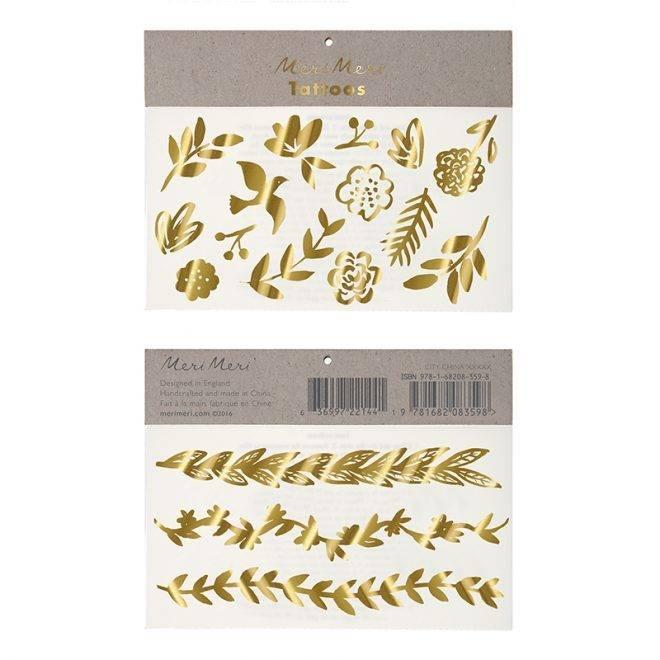 MERIMERI Gold botanical tattoos