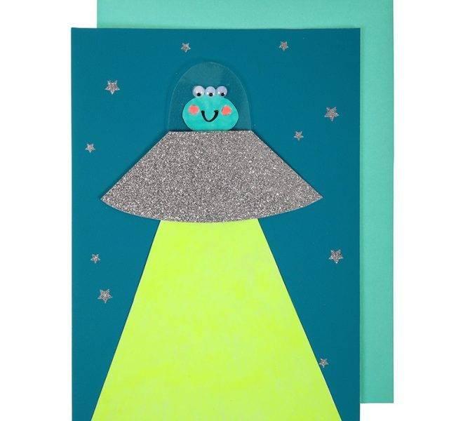 MERIMERI Alien in spaceship card