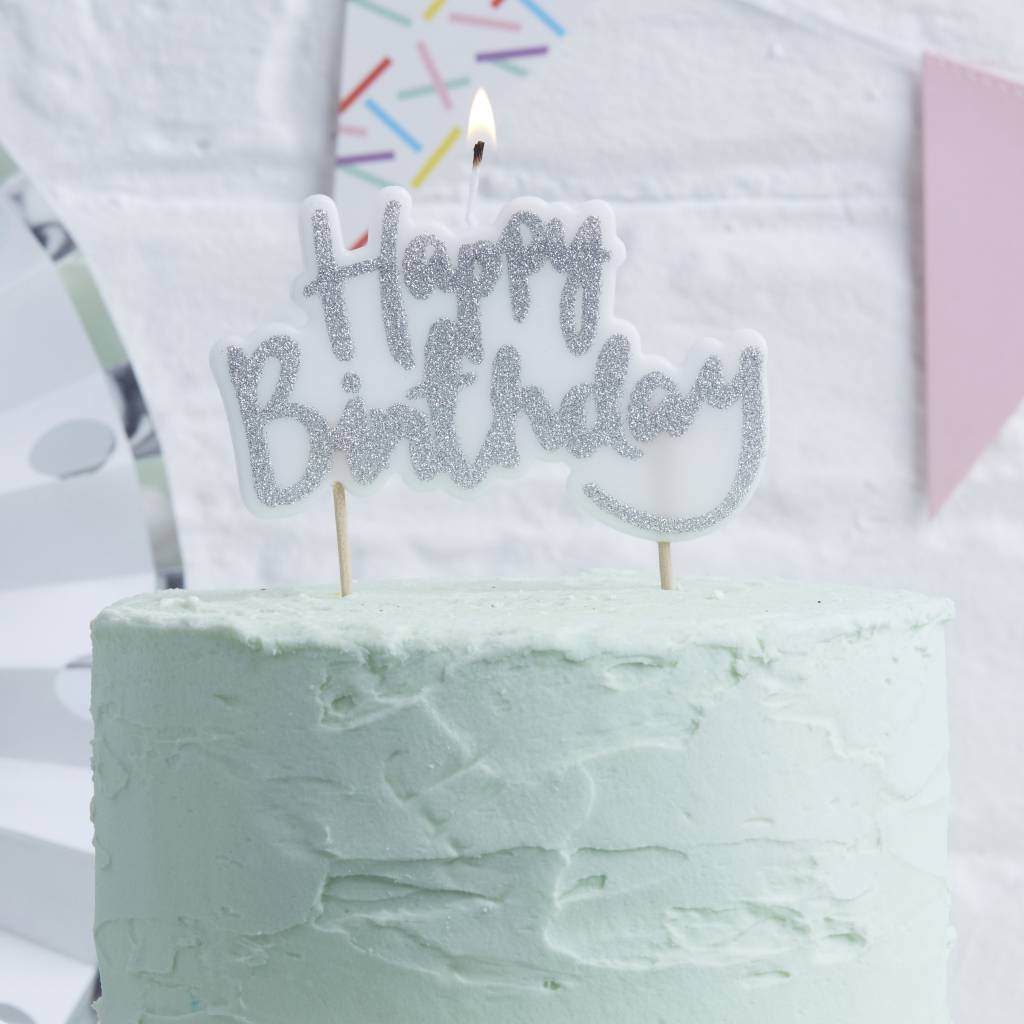 GINGERRAY Candle - Happy Birthday - Silver