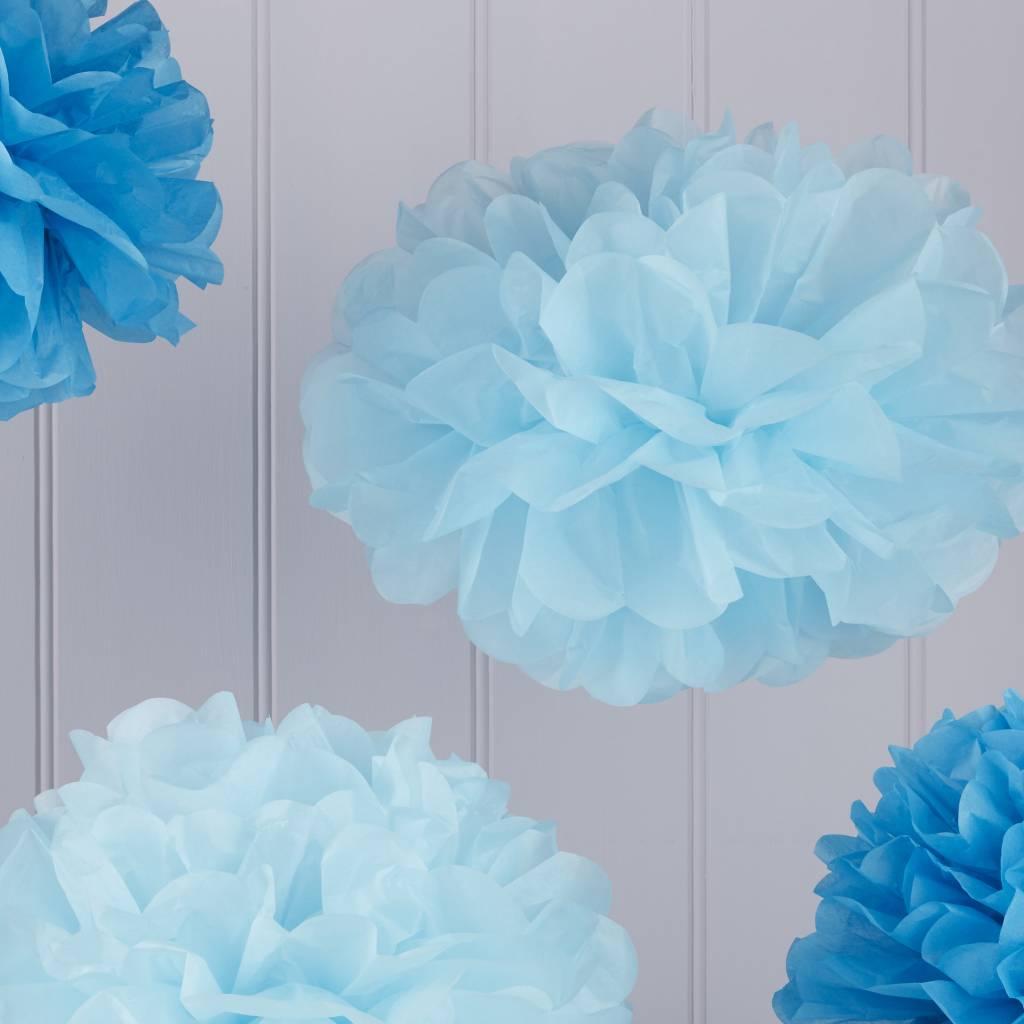 GINGERRAY Paper Pom Poms - Light / Dark Blue