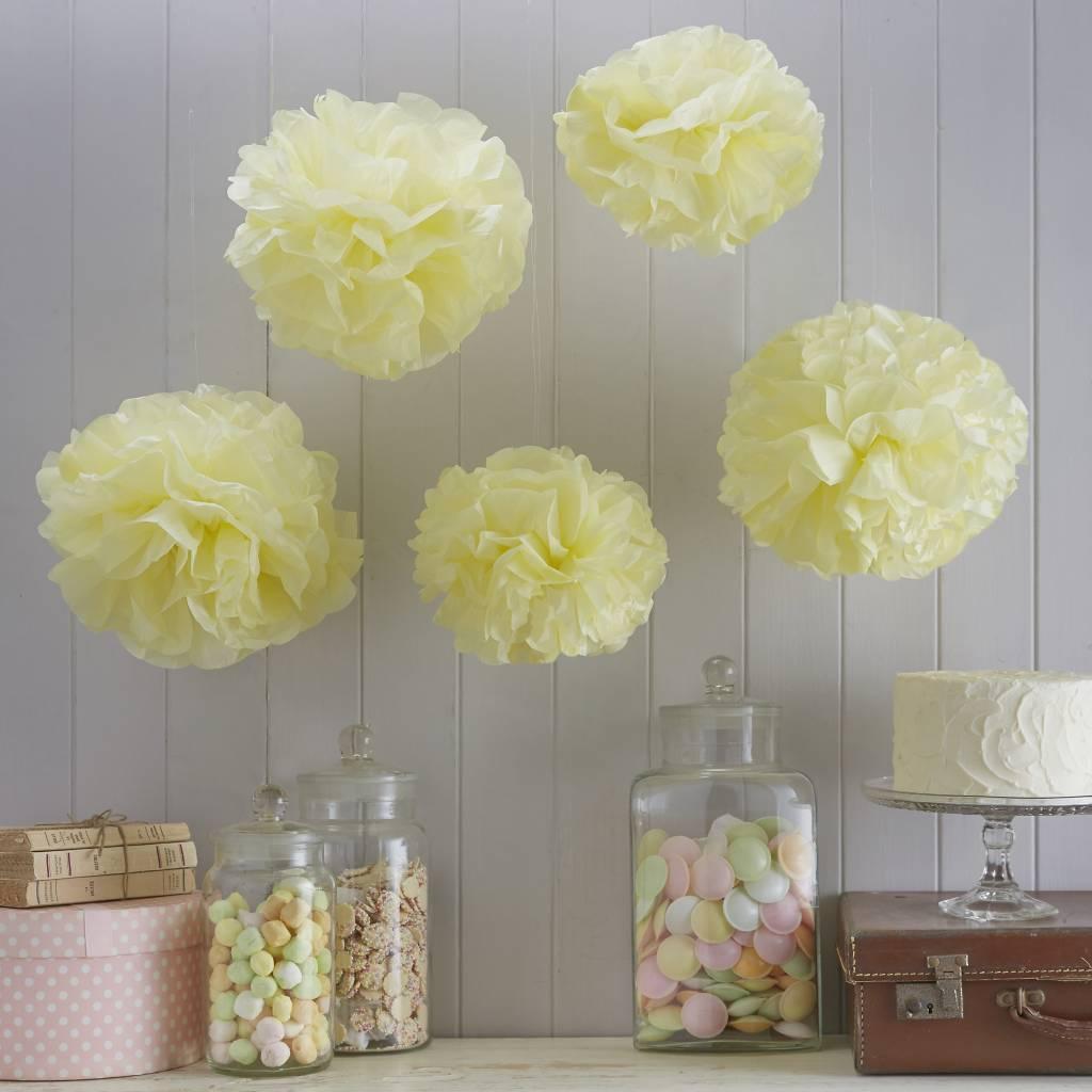 GINGERRAY Paper Pom Poms - Pastel Yellow