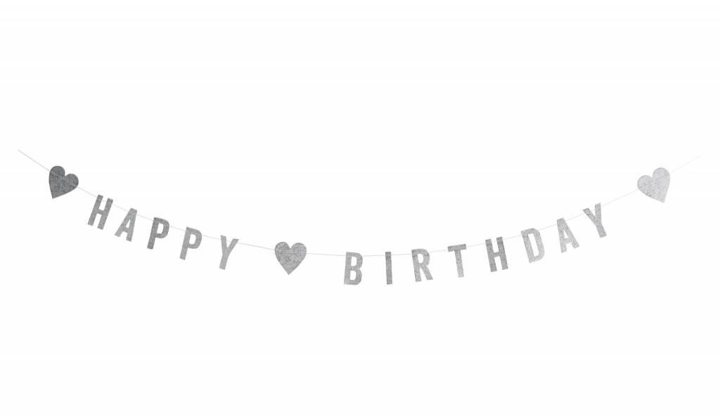 MADAM STOLTZ Happy birthday guirlande silver