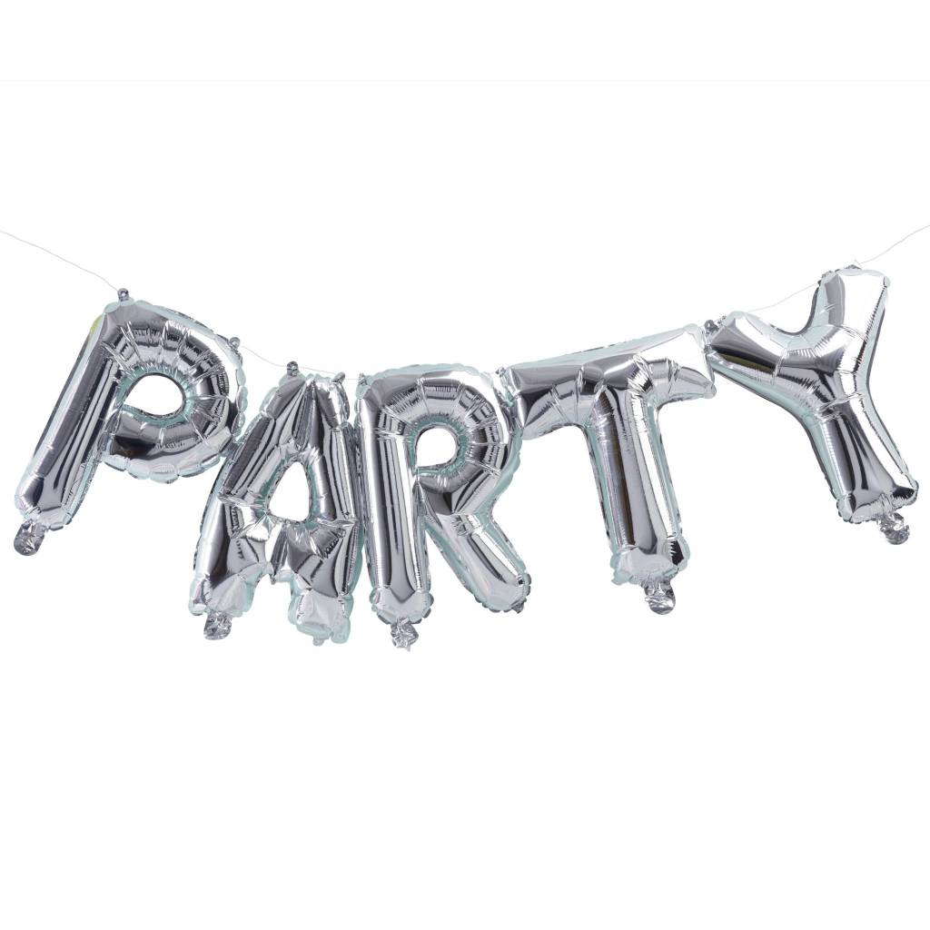 GINGERRAY bunting balloon party silver