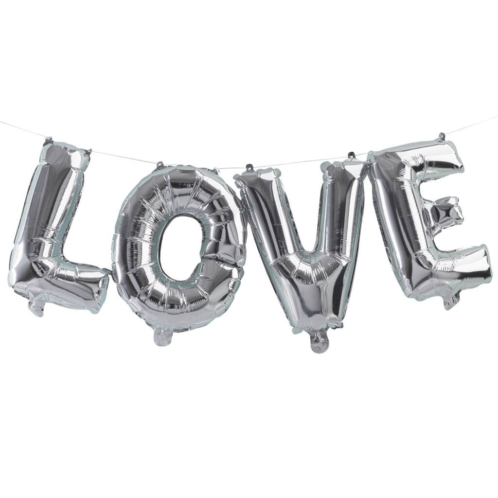 GINGERRAY bunting balloon love silver