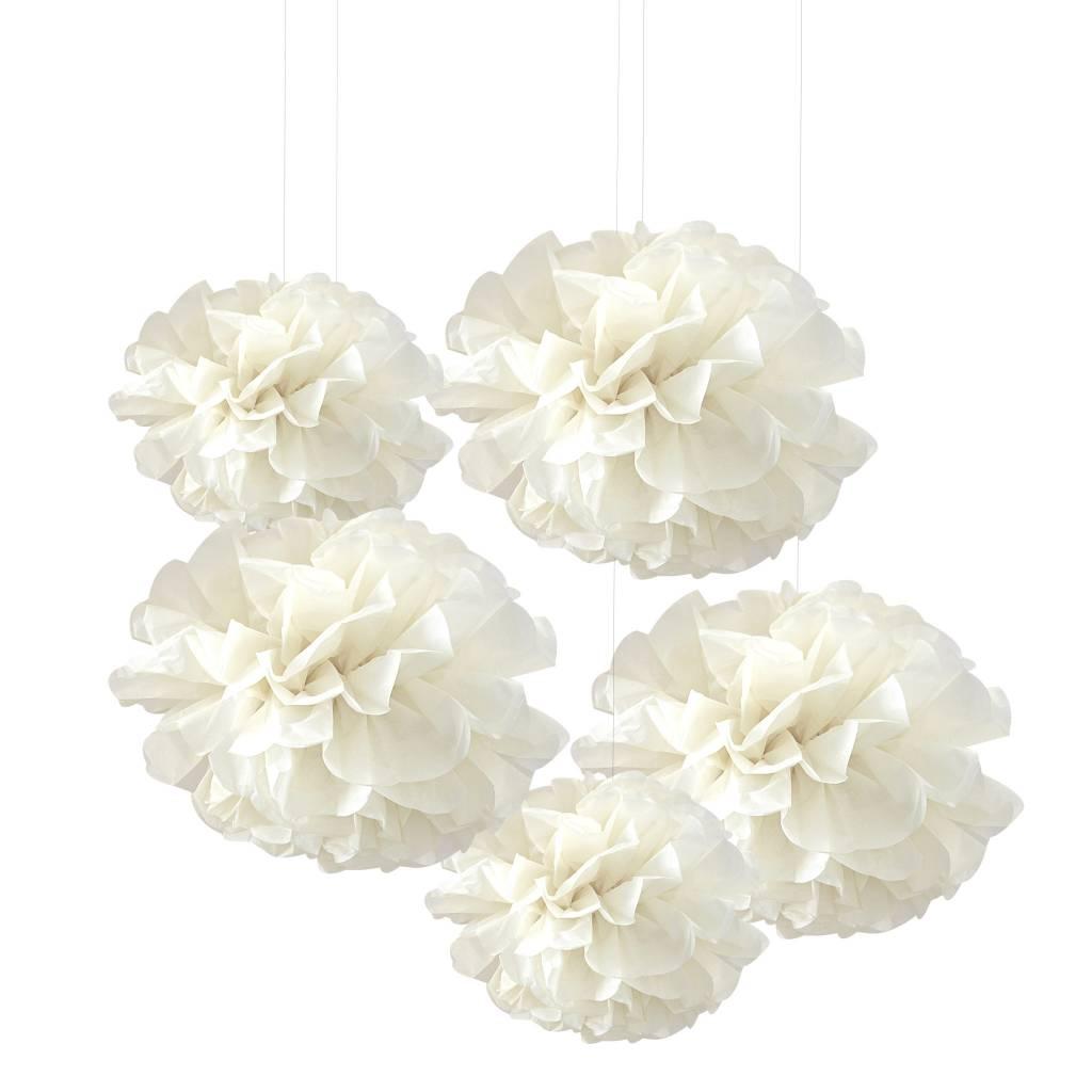 GINGERRAY tissue paper pom poms ivory