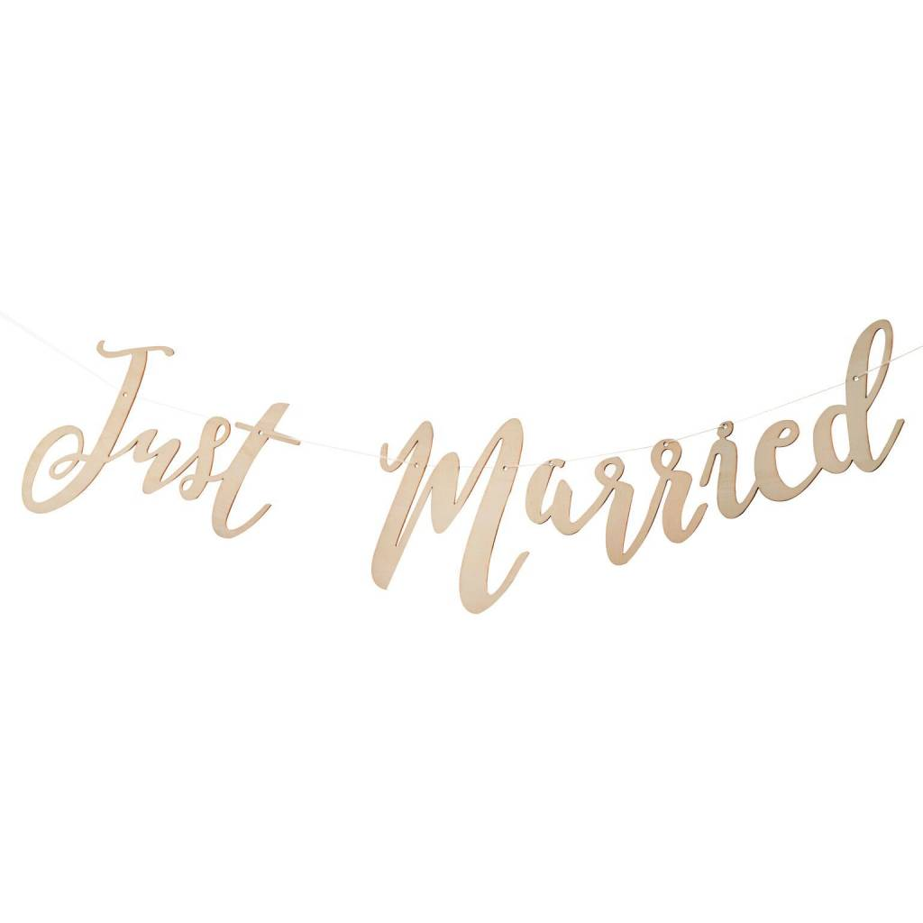 GINGERRAY Just Married wooden bunting