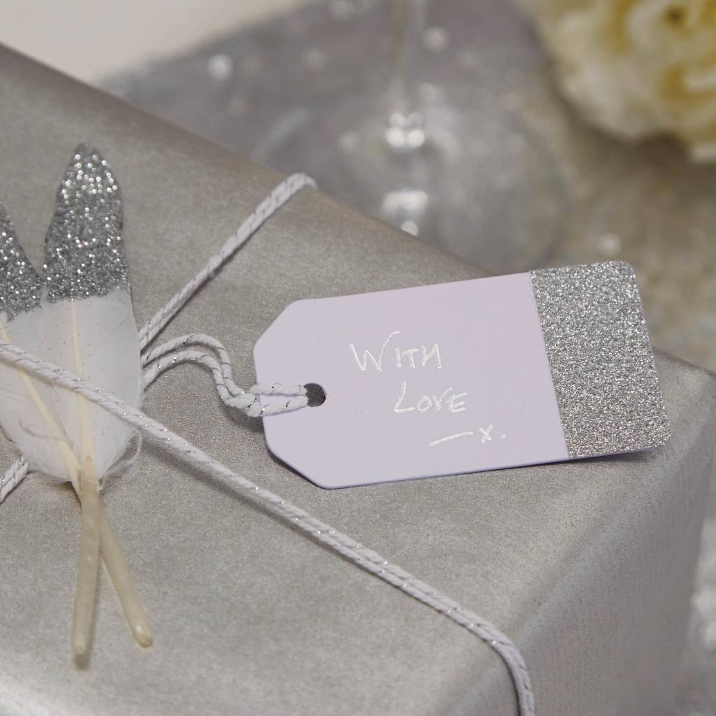 GINGERRAY luggage tags white & silver