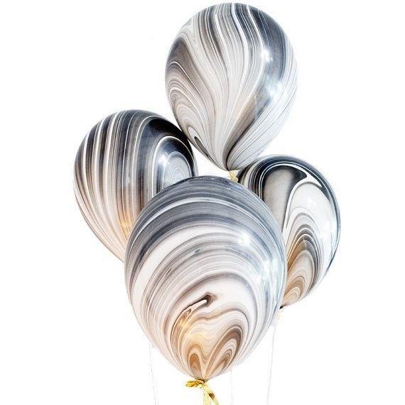 ABC 5 marble balloons black & white