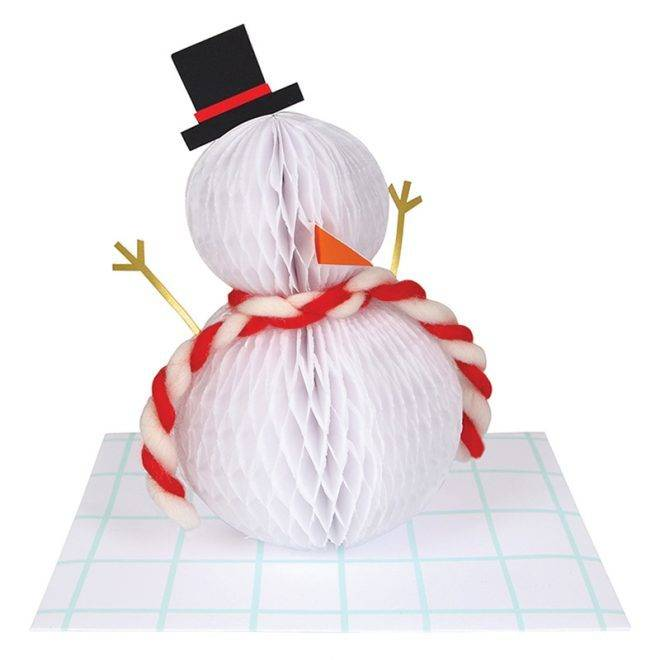 MERIMERI snowman honeycomb card