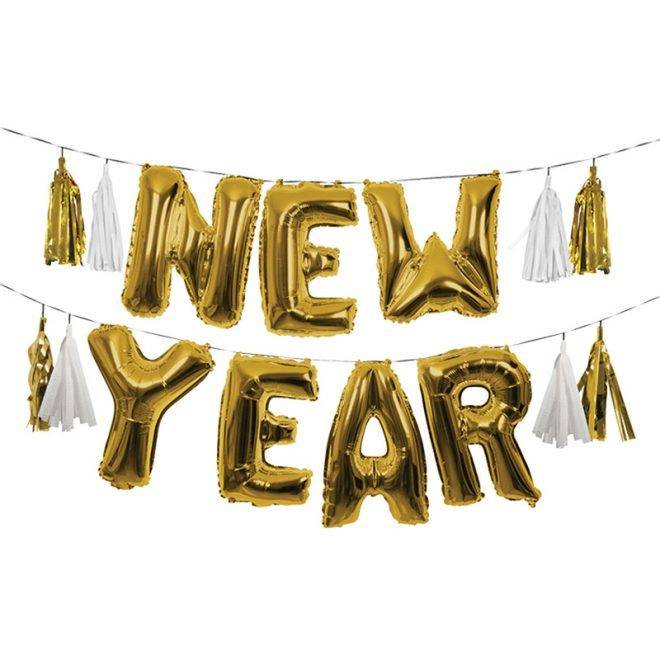 MERIMERI gold New Year balloon garland
