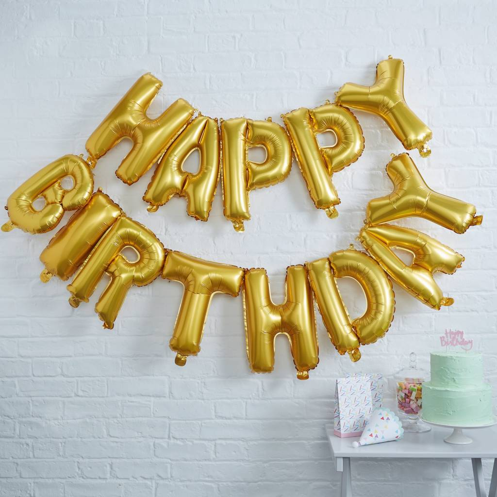 GINGERRAY happy birthday foil balloon bunting gold