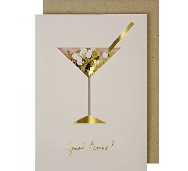 MERIMERI Cocktail confetti shaker greeting card