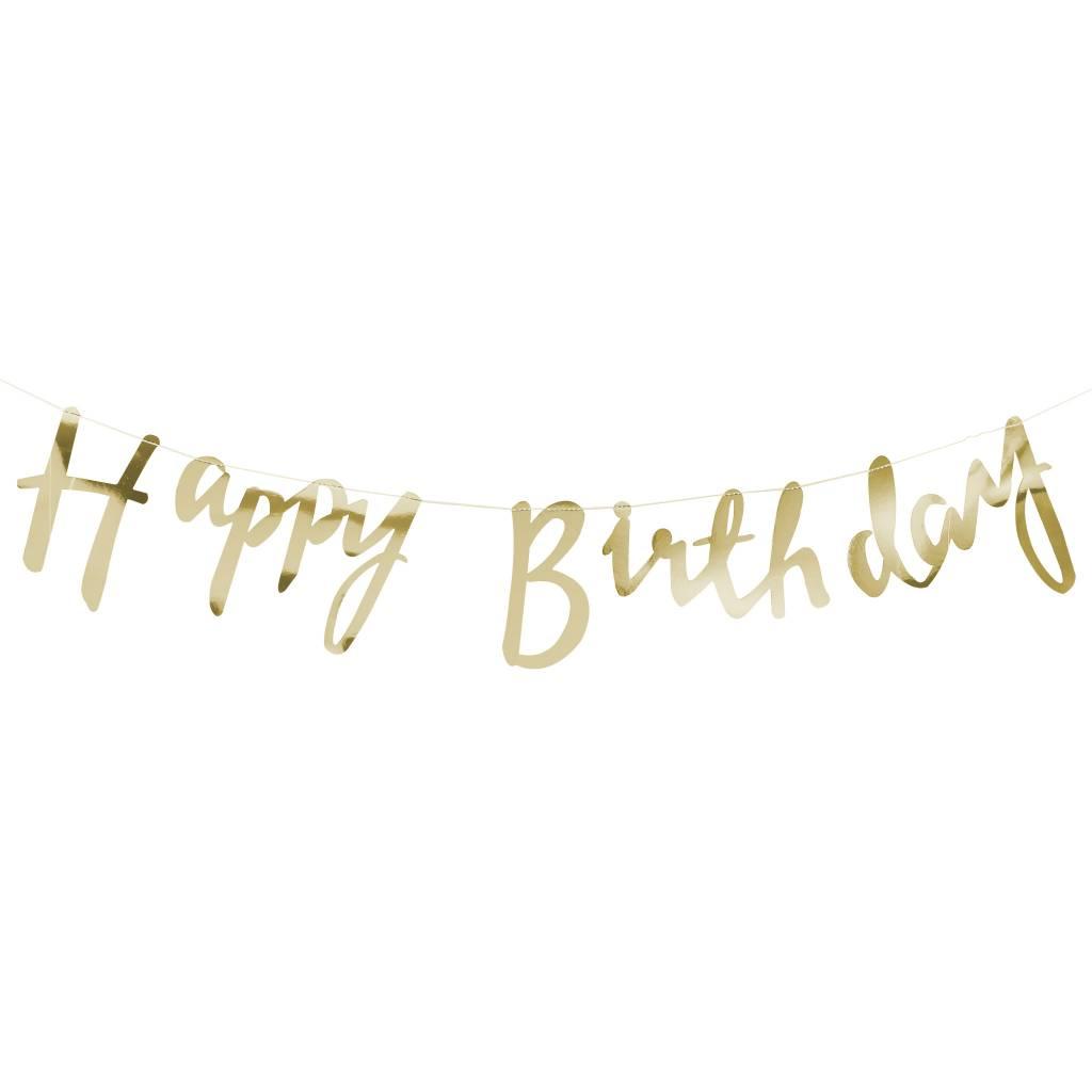 GINGERRAY Gold Happy Birthday Bunting