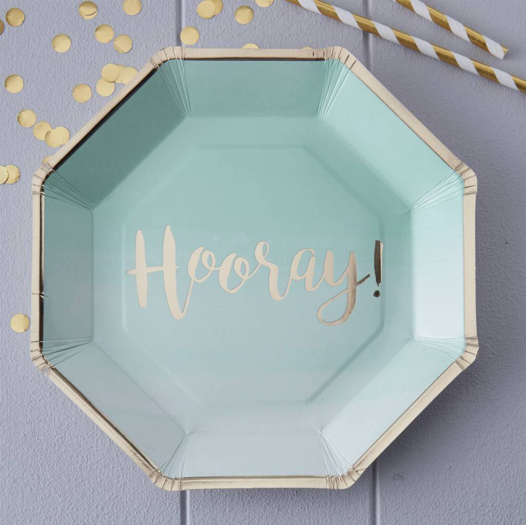 GINGERRAY Mint & Gold Foiled Hooray Paper Plates