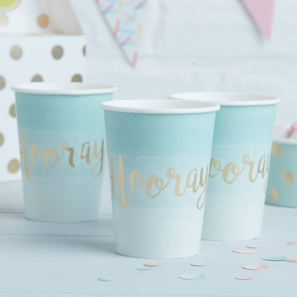 GINGERRAY Mint & Gold Foiled Hooray Paper Cups