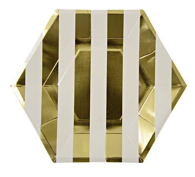 MERIMERI Gold stripe plates large