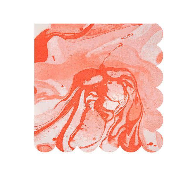 MERIMERI Coral marble napkins small