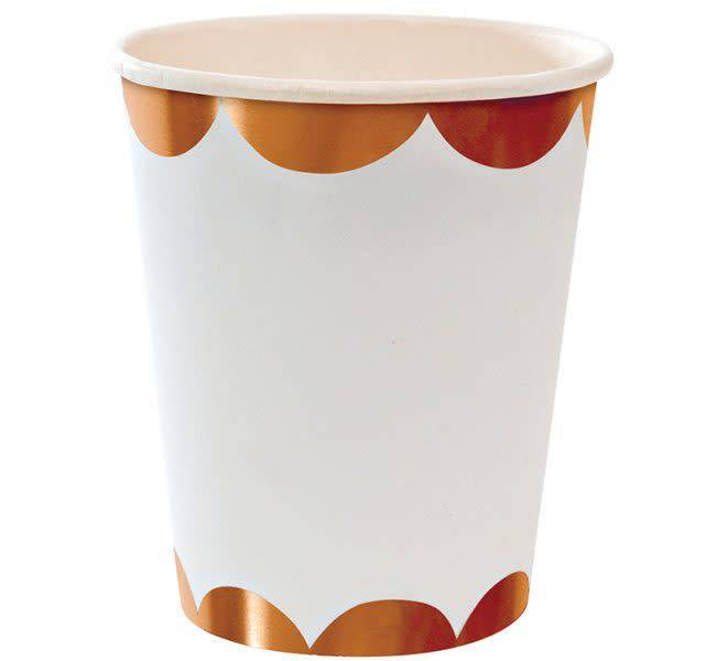 MERIMERI Rose gold scallop party cups