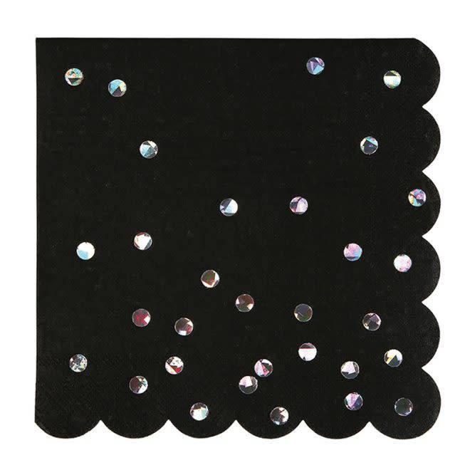 MERIMERI Black holographic napkins L