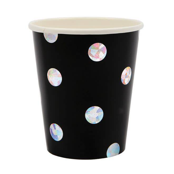 MERIMERI Black holographic cups