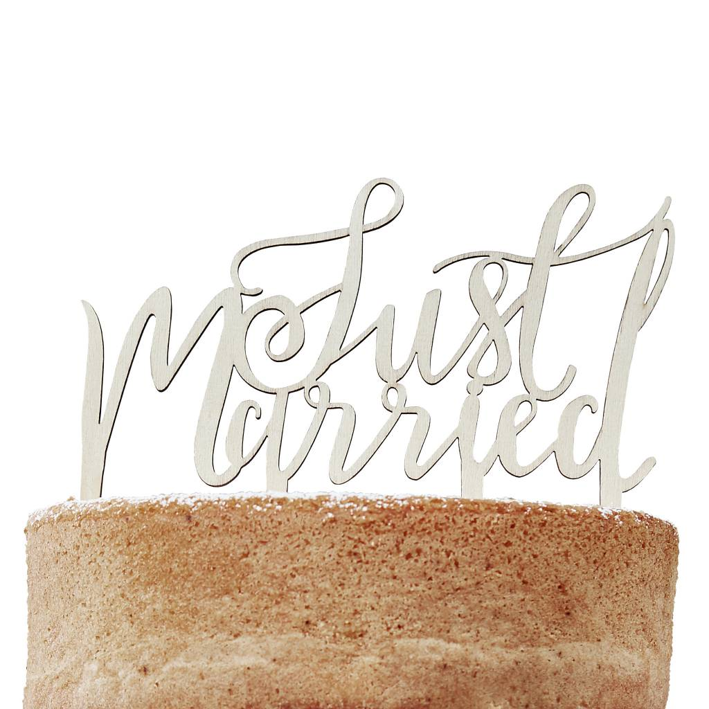 GINGERRAY just married wooden cake topper