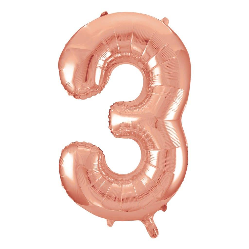 FT foil numberballoon large rose gold 3