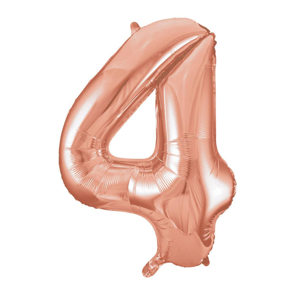 FT foil numberballoon large rose gold 4