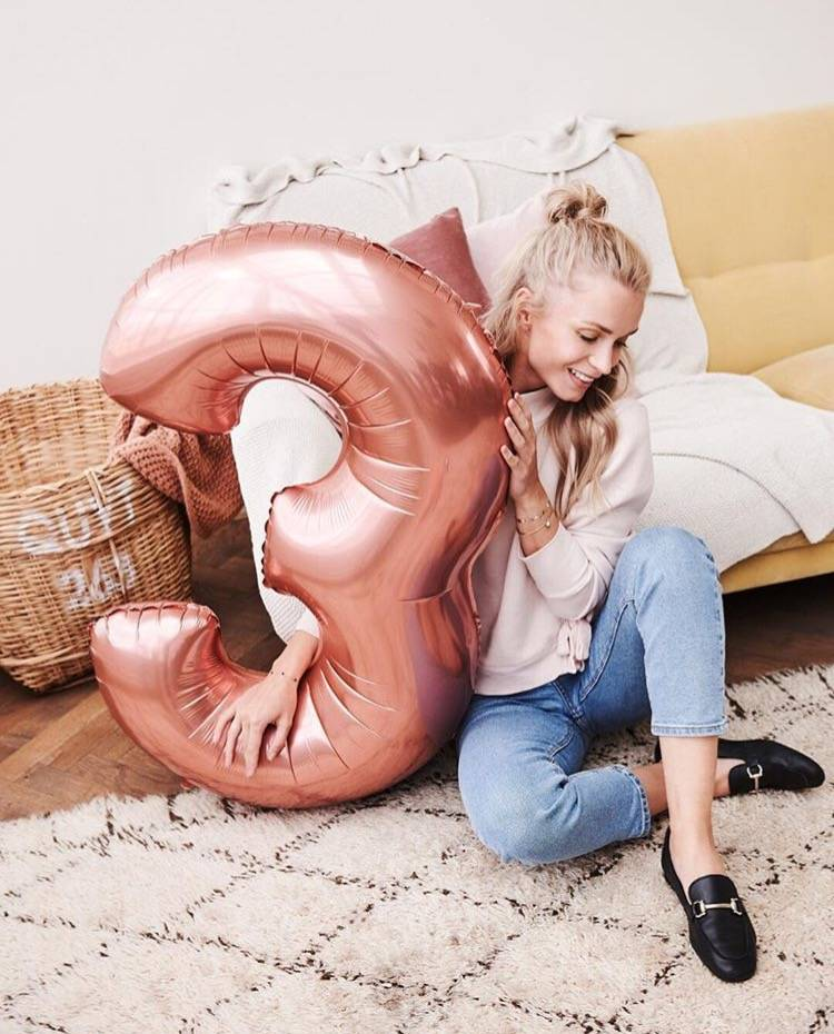 FT foil numberballoon large rose gold 5