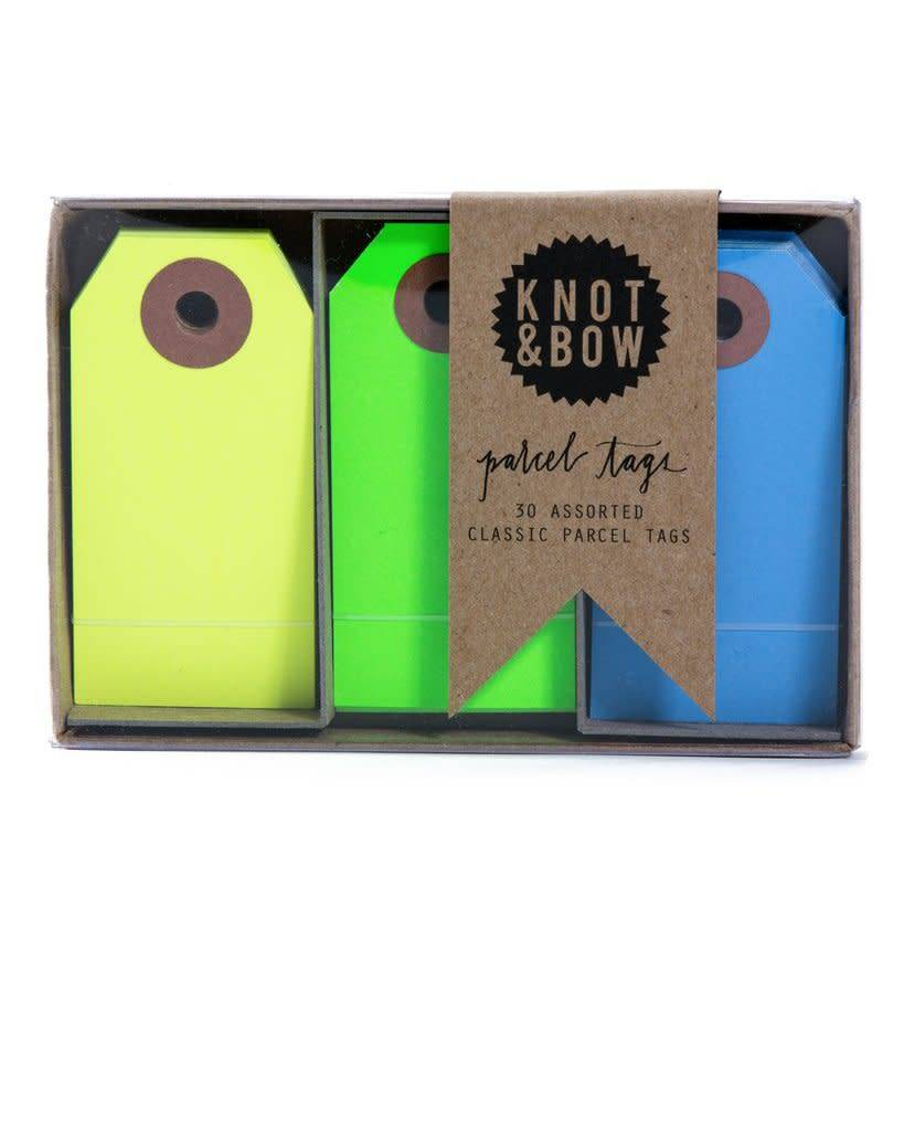 KNOT & BOW parcel tag trio box - cool neon