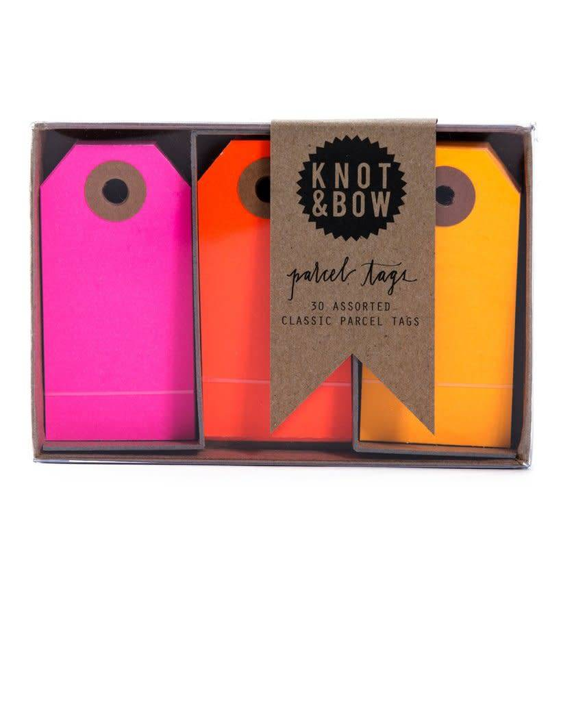 KNOT & BOW parcel tag trio box - warm neon