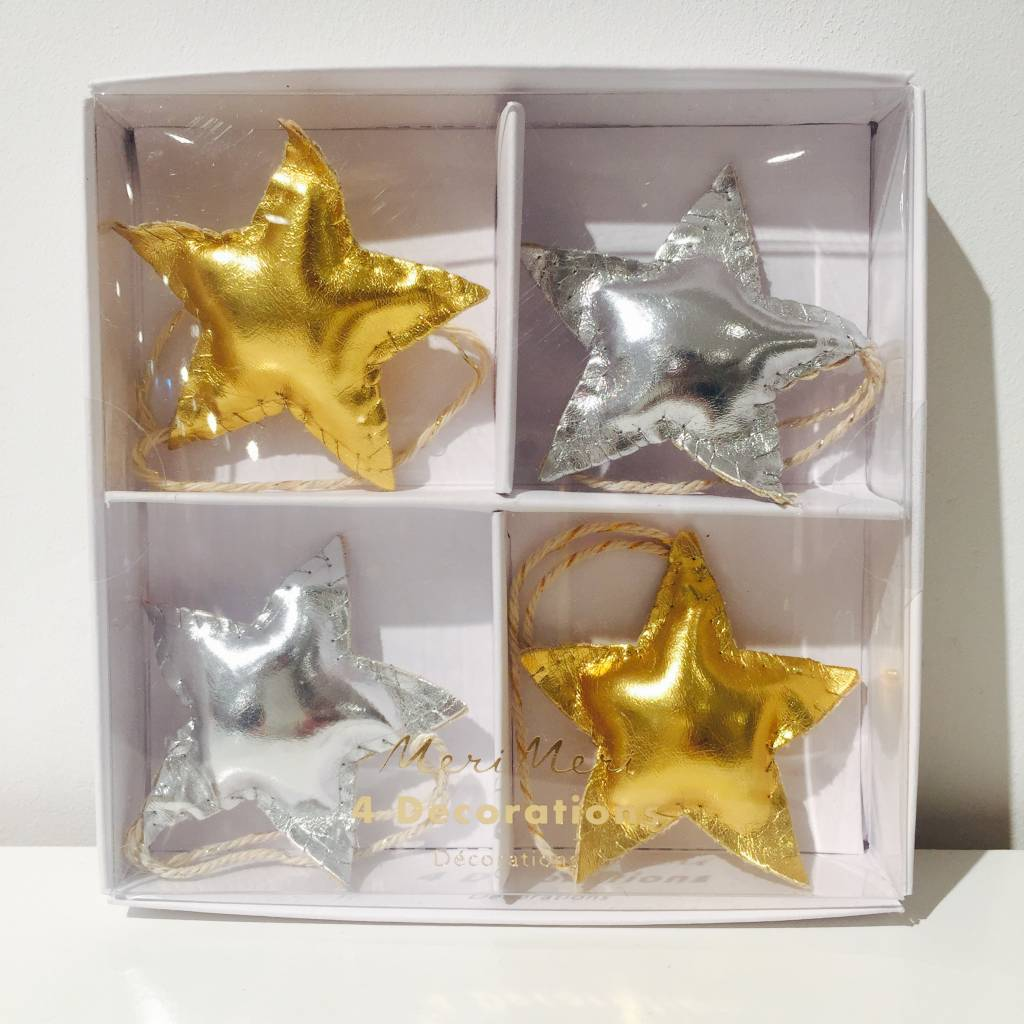 MERIMERI faux-leather gold and silver star decorations