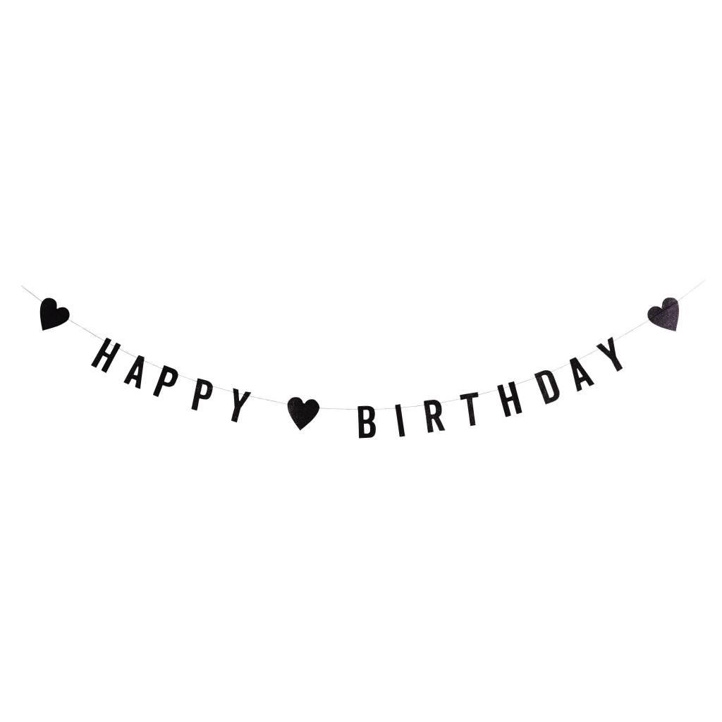 MADAM STOLTZ Happy birthday guirlande black glitter