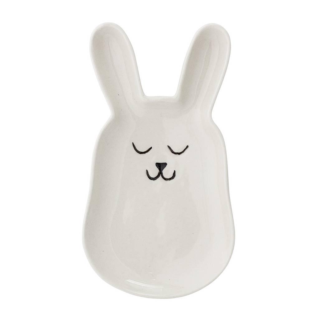 BLOOMINGVILLE bunny plate white stoneware