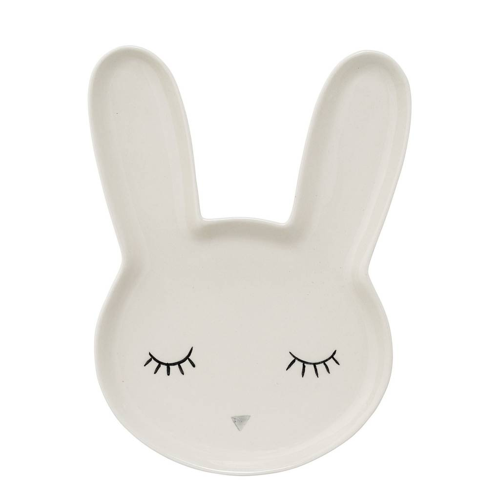 BLOOMINGVILLE bunny big serving plate white stoneware