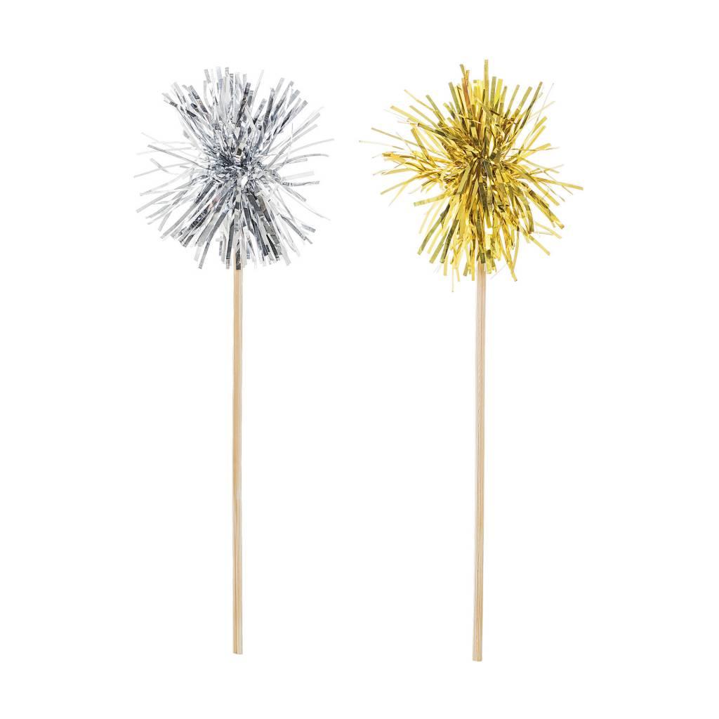 BLOOMINGVILLE pom pom swizzle sticks silver gold 24x